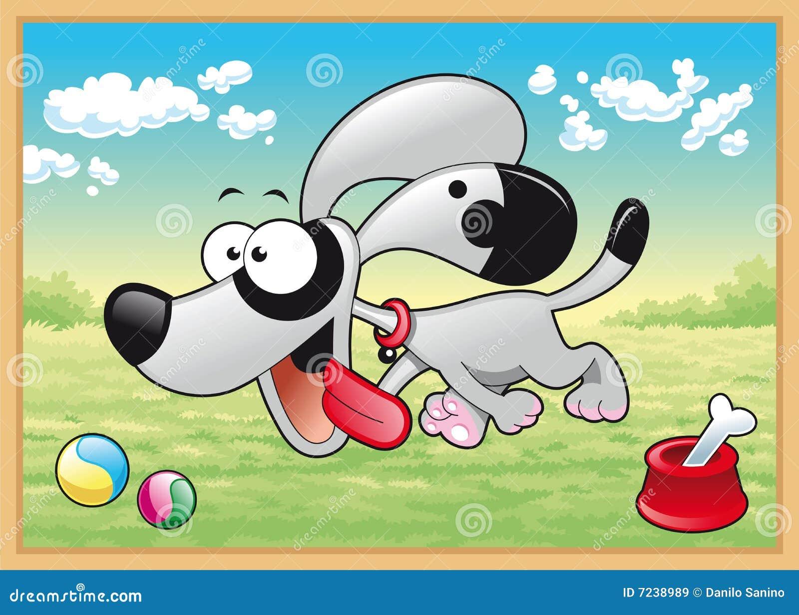 El perro se está ejecutando en prado