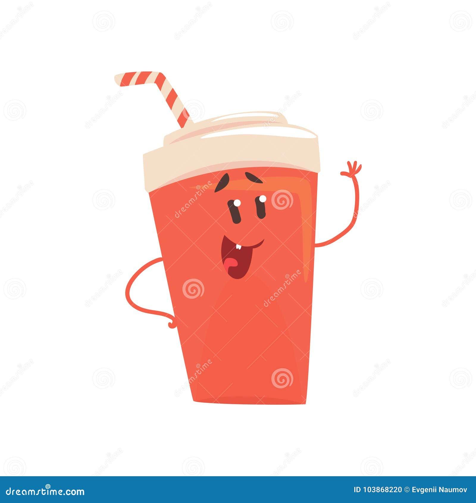 El Personaje De Dibujos Animados De La Bebida De La Soda, Elemento Para El  Menú Del Café, Restaurante, Embroma La Comida, Ejemplo Ilustración del  Vector - Ilustración de soda, animados: 103868220