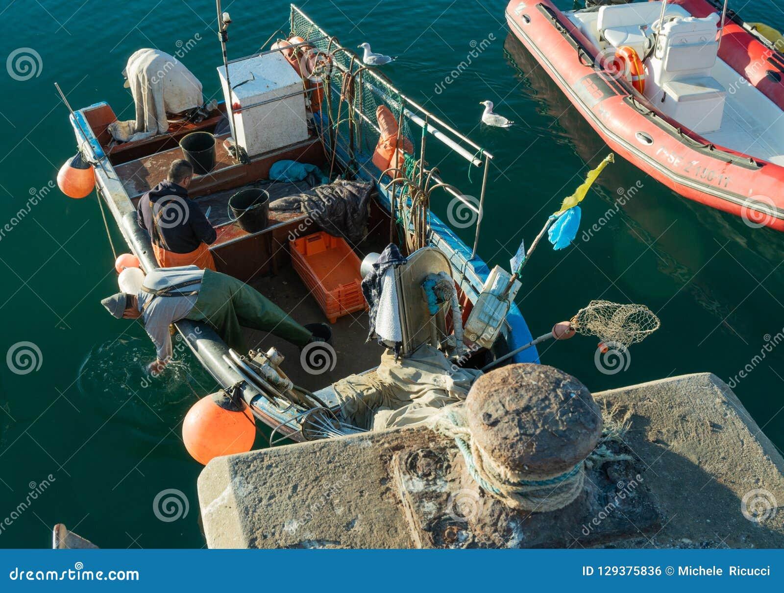 El pescador limpia sus pescados en el barco