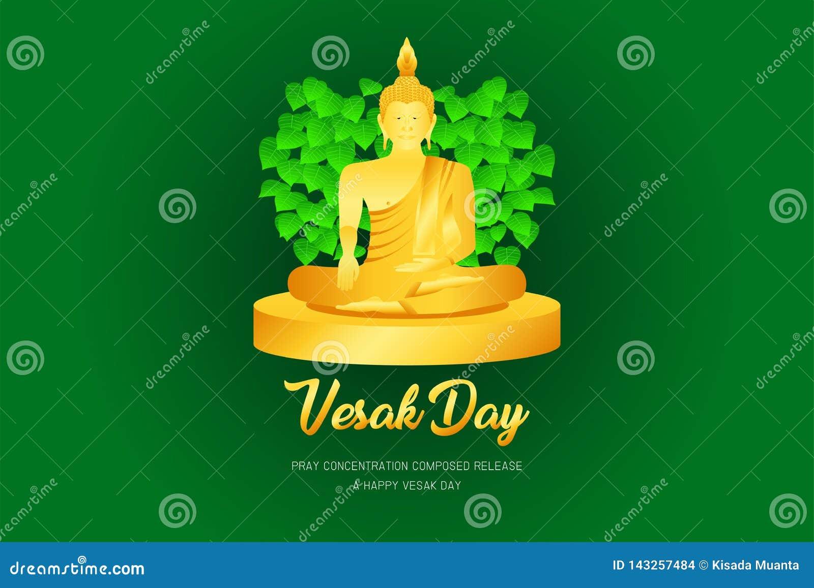 El phra Buda del monje del día de Vesak ruega el frente compuesto concentración del lanzamiento del ejemplo eps10 de la fe de la