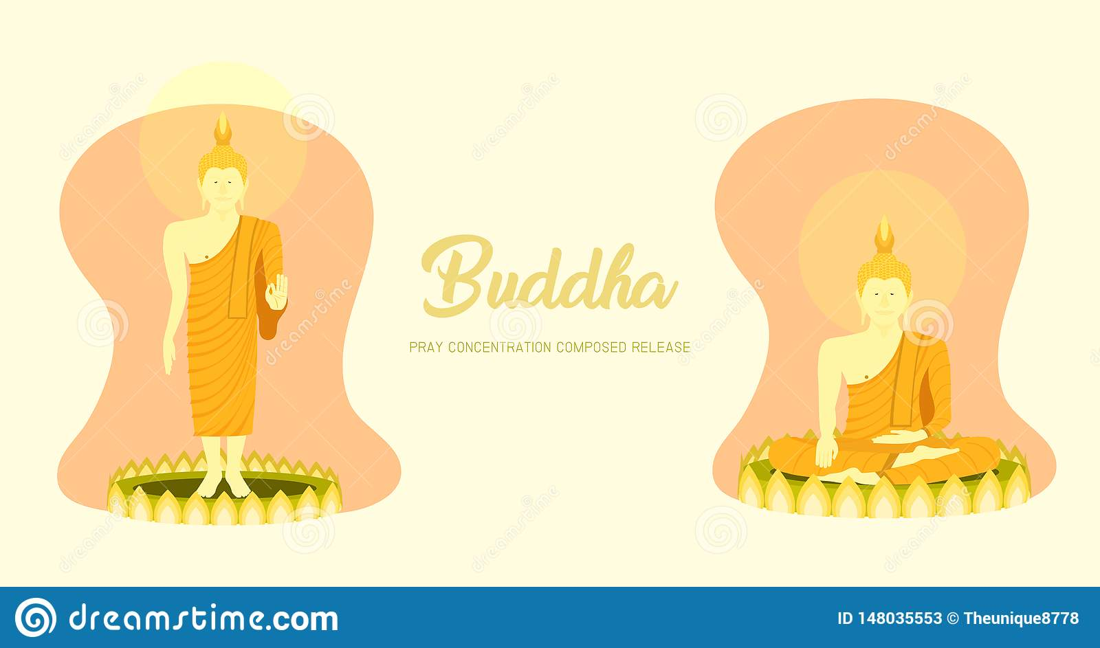 El phra Buda del monje que se sienta y que se coloca en la base del loto para ruega el lanzamiento compuesto concentración Fondo