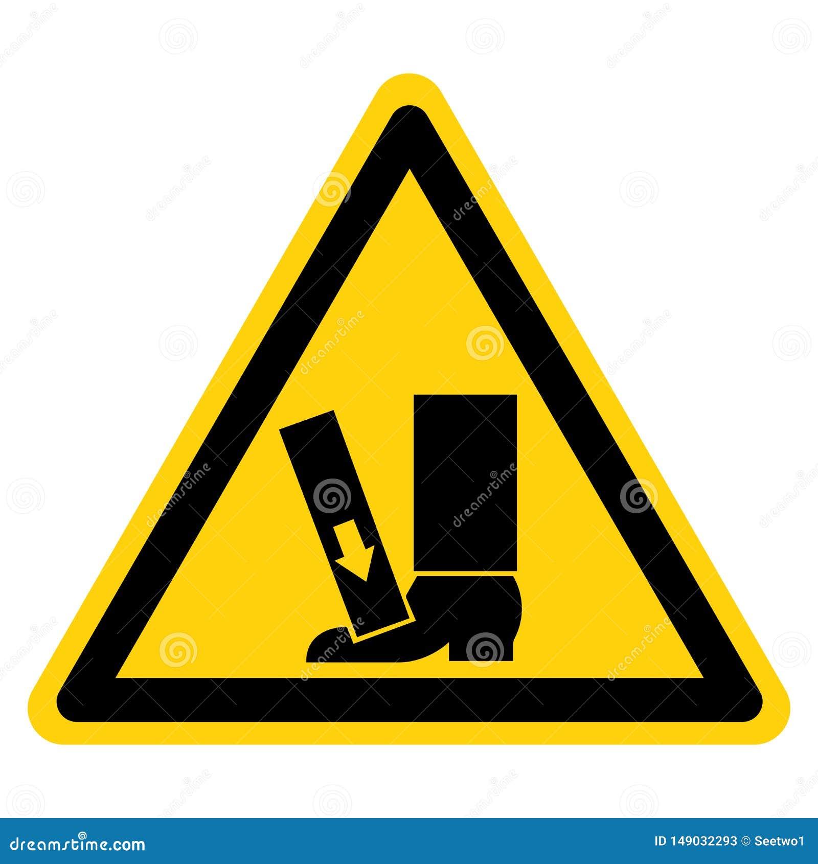 El pie machaca la fuerza desde arriba de aislante de la muestra del símbolo en el fondo blanco, ejemplo del vector