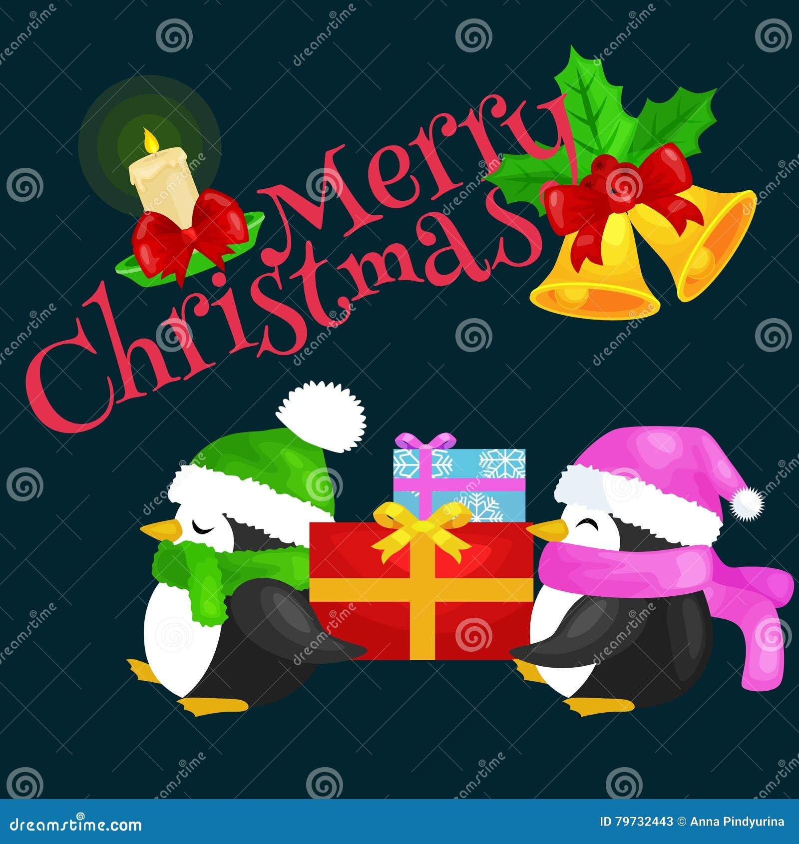 El pingüino lindo feliz de la Navidad dos en sombrero y la bufanda son una pila de regalos de la Navidad la víspera del Año Nuevo