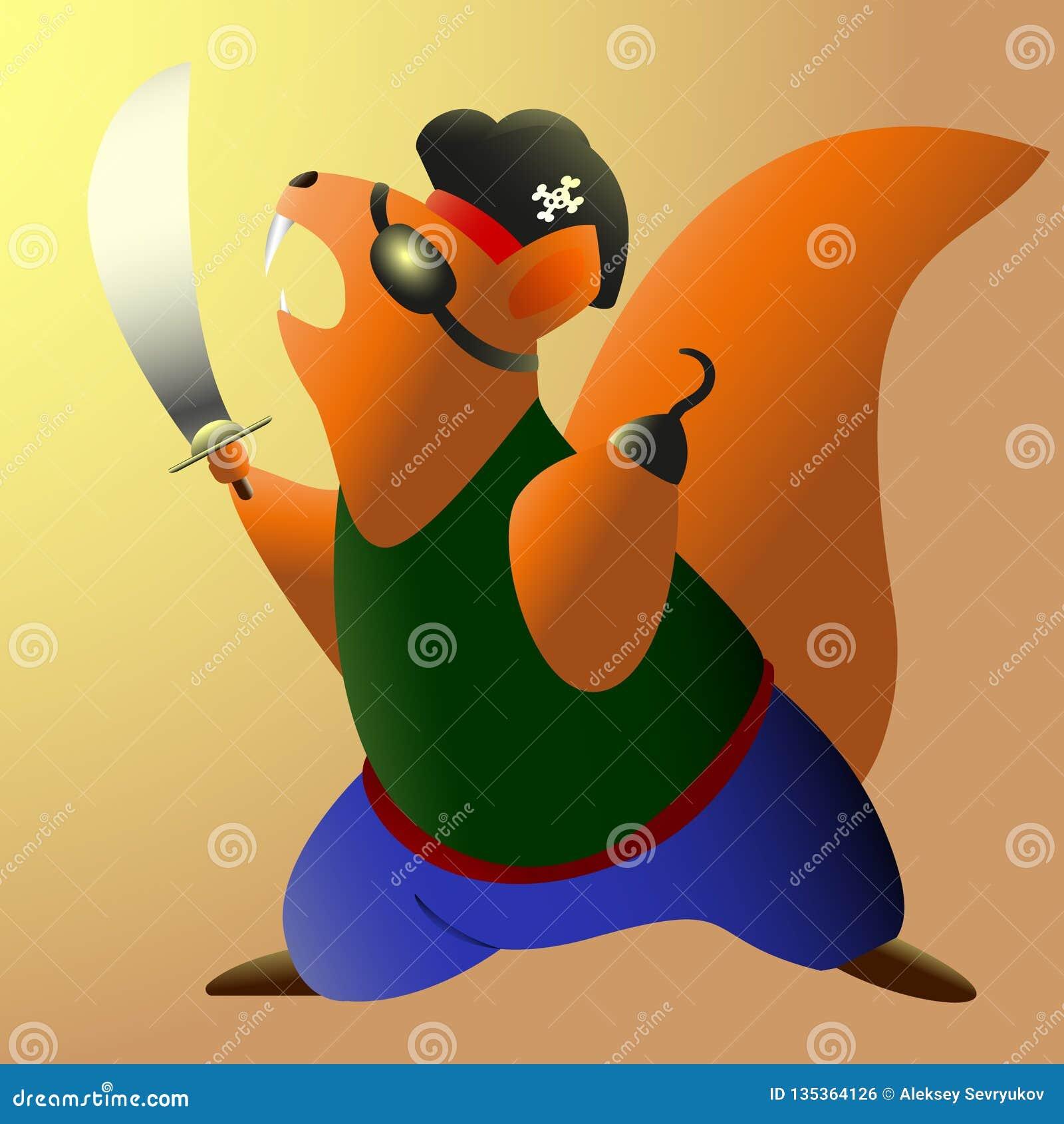 El pirata valiente de la ardilla acomete para atacar Ilustración del vector