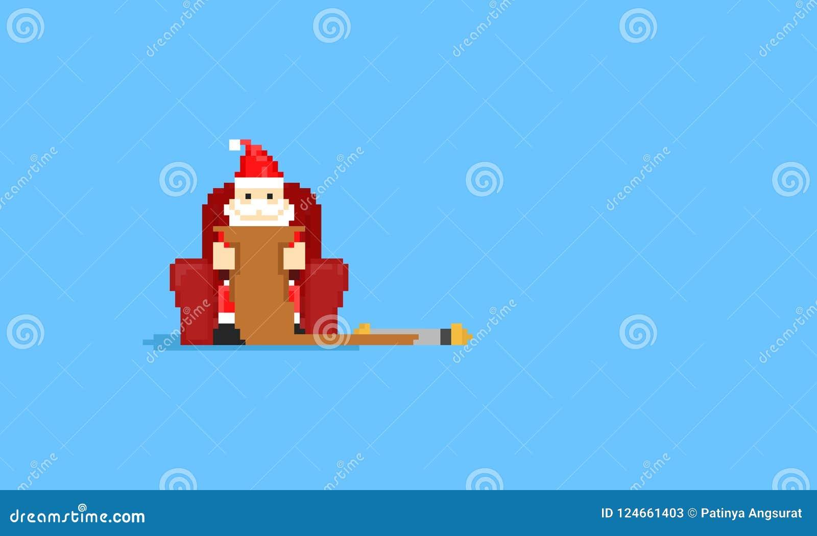 El pixel Papá Noel se sienta en el deseo list8bit del sofá y de la lectura