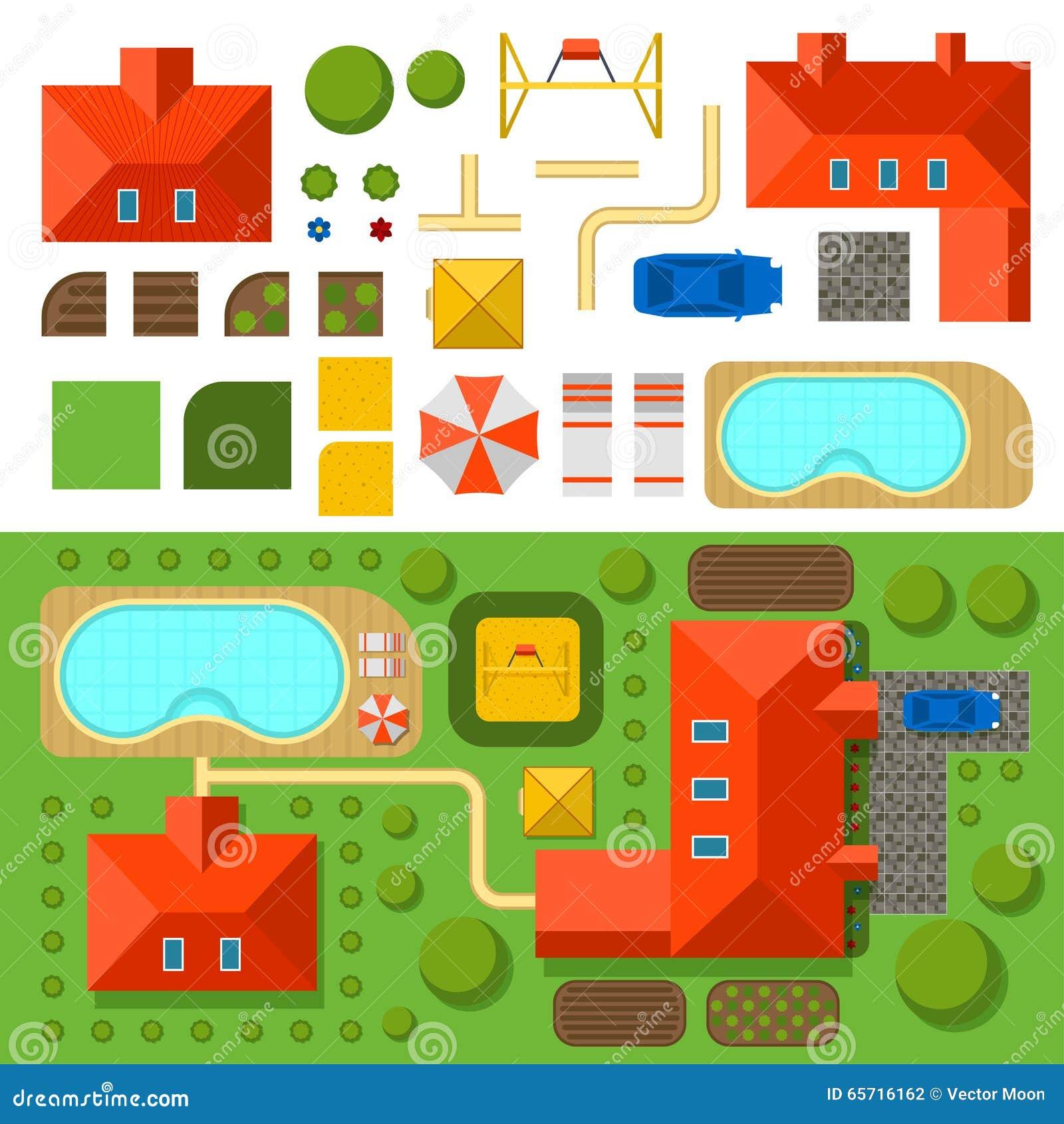 El Plan De La Casa Privada Con El Jardin La Piscina Y El Coche Vector El Ejemplo Ilustracion Del Vector Ilustracion De Jardin Plan 65716162