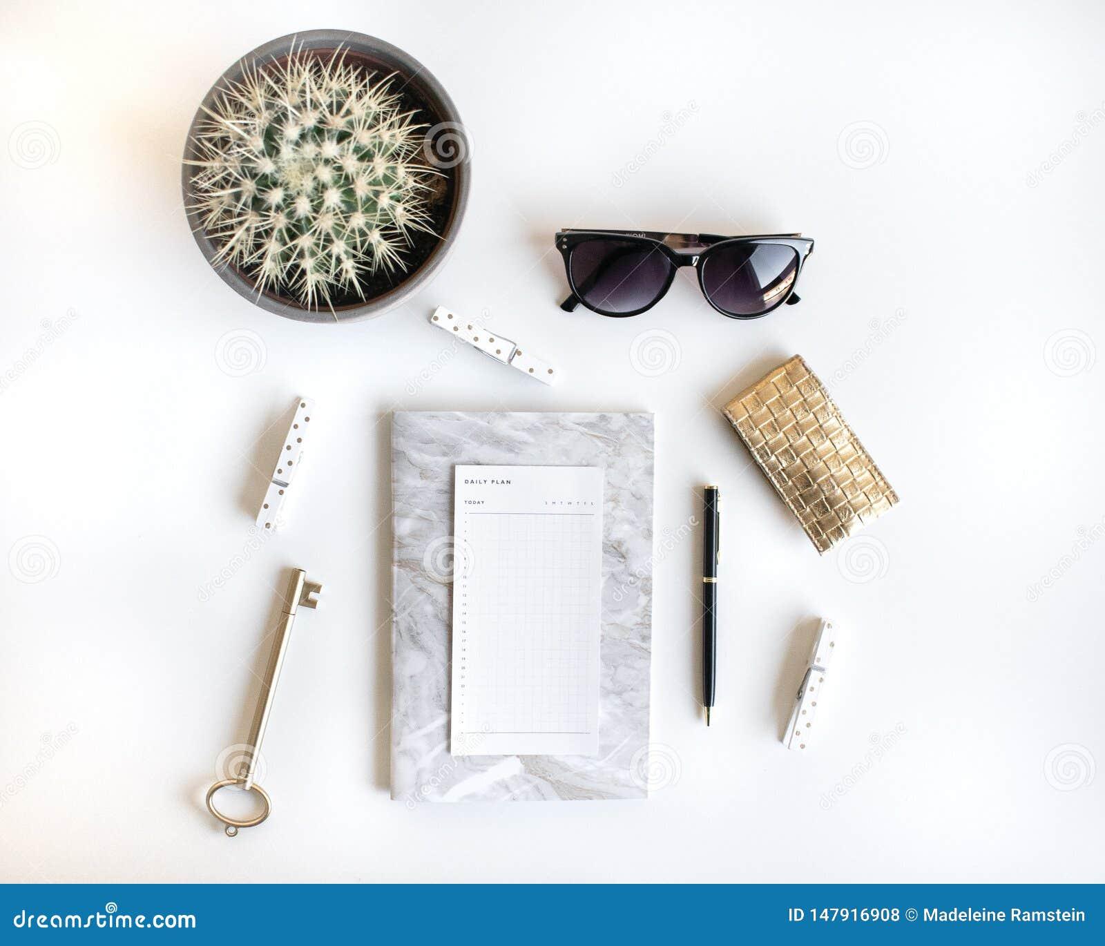 El plano de la forma de vida pone con los accesorios Blanco y oro