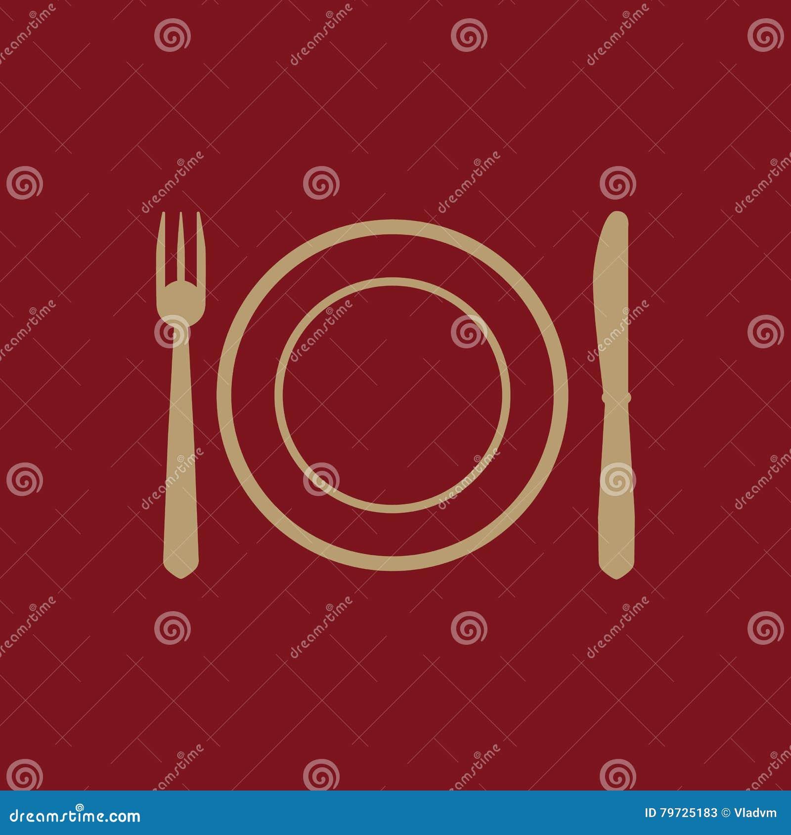El plato de la placa con el icono de la bifurcación y del cuchillo