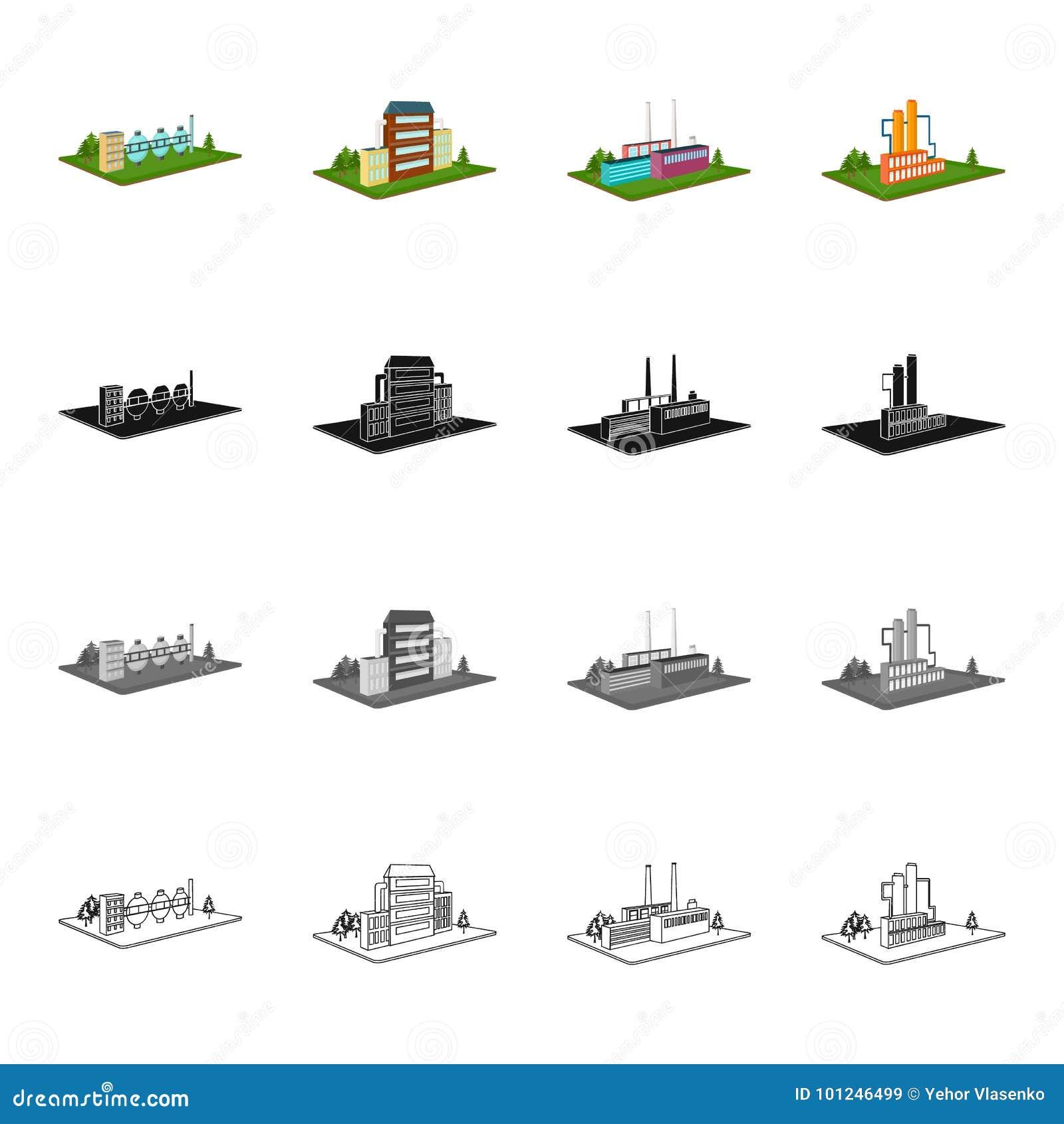 El poder, la planta, la organización, y el otro icono del web en estilo de la historieta Metales, territorio, iconos de la indust