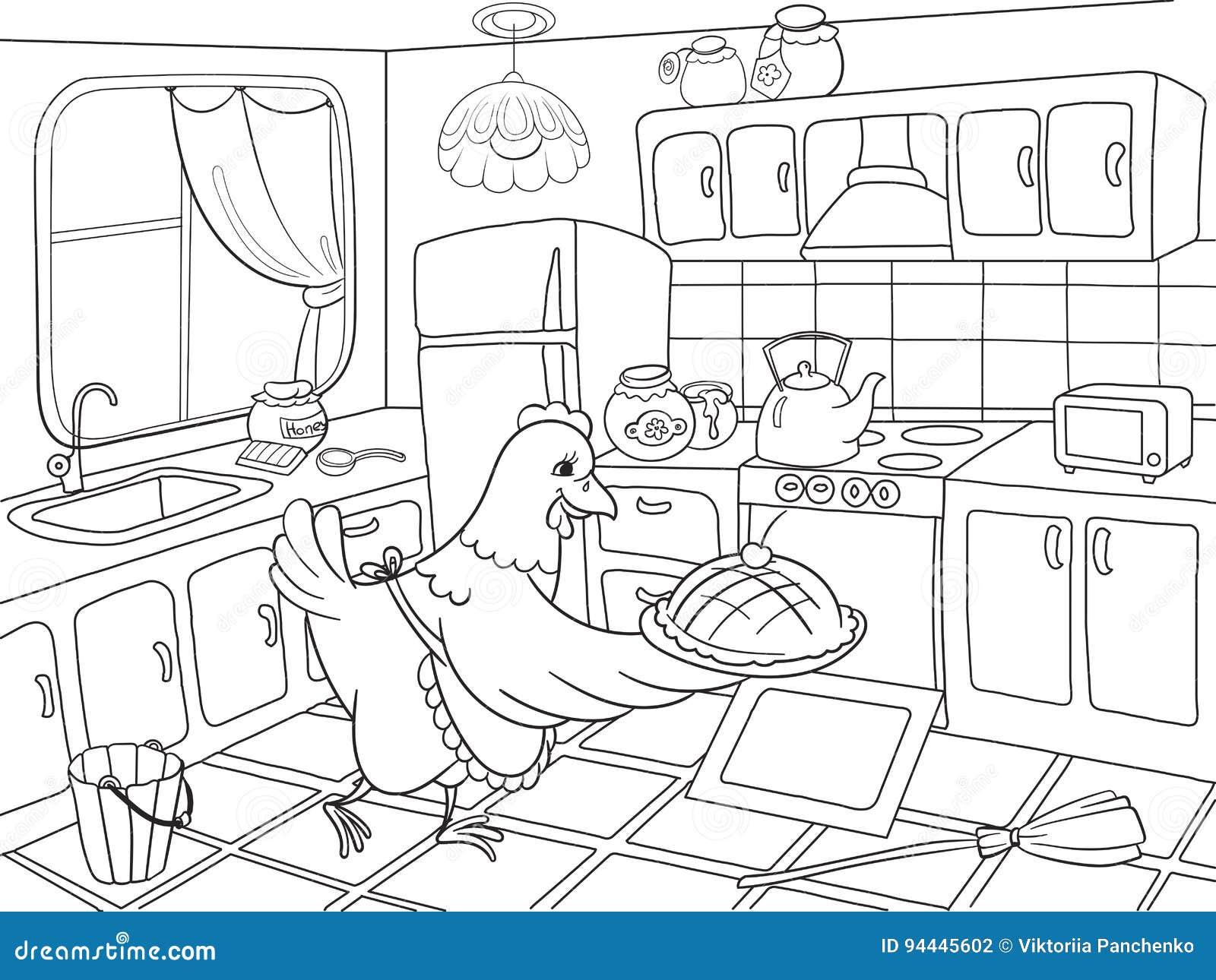 El Pollo De La Mamá En La Cocina Prepara La Comida Para El Libro De ...