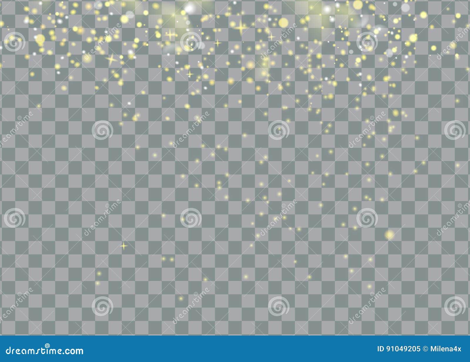 El polvo de estrella que brilla arrastra partículas chispeantes en fondo transparente Cola del cometa del espacio Moda del encant