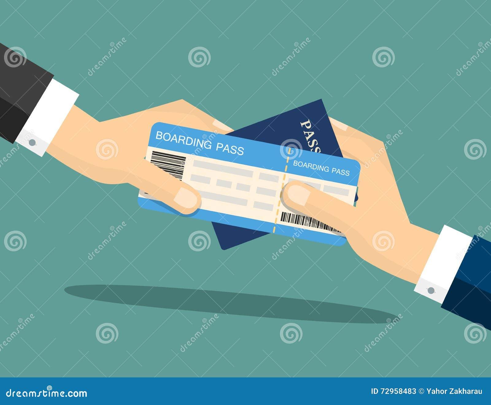 El primer de un hombre de negocios que entrega su documento de embarque y el pasaporte en el aeropuerto se registran Ilustración
