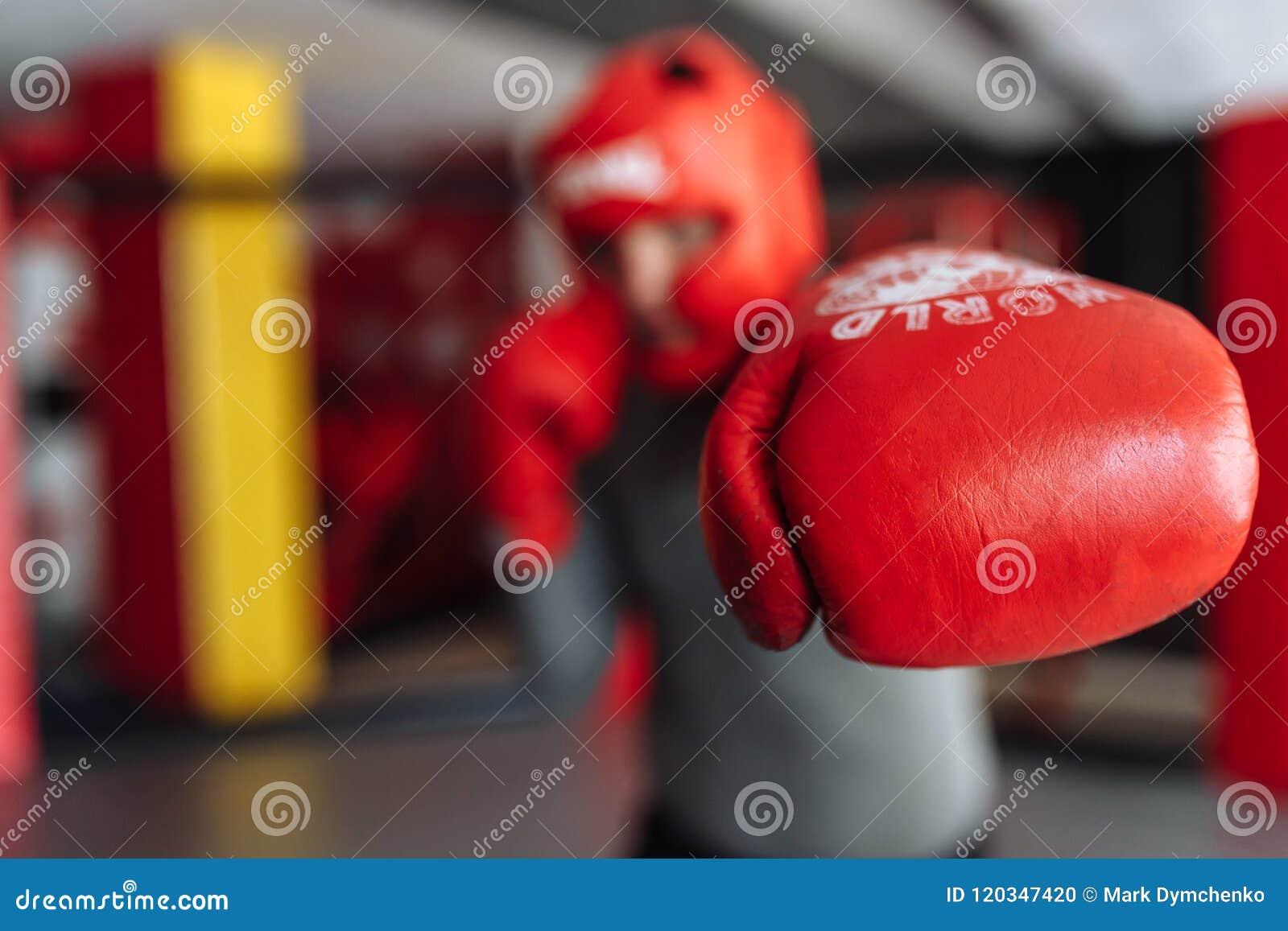 El primer del guante de boxeo, el boxeador de sexo masculino enganchó al entrenamiento en el gimnasio, en una jaula para una luch