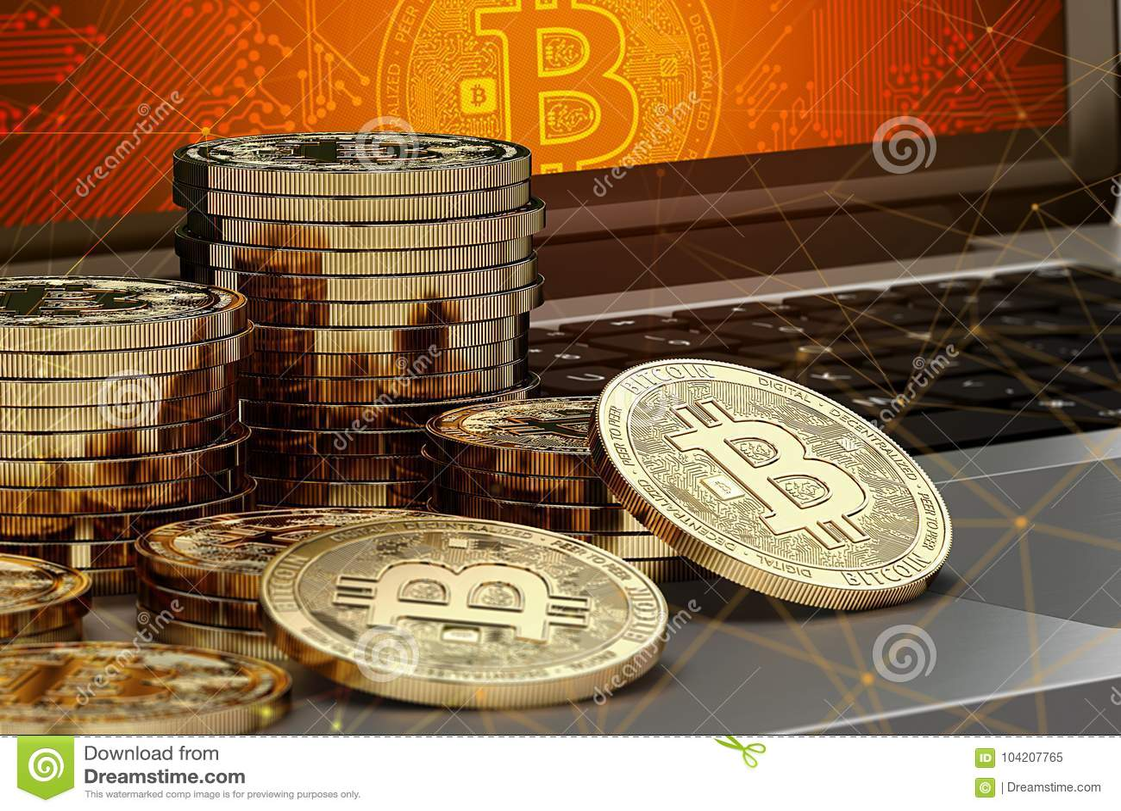 El primer tiró en las pilas de Bitcoin que ponían en el ordenador con el logotipo de Bitcoin en pantalla y nodos del blockchain a