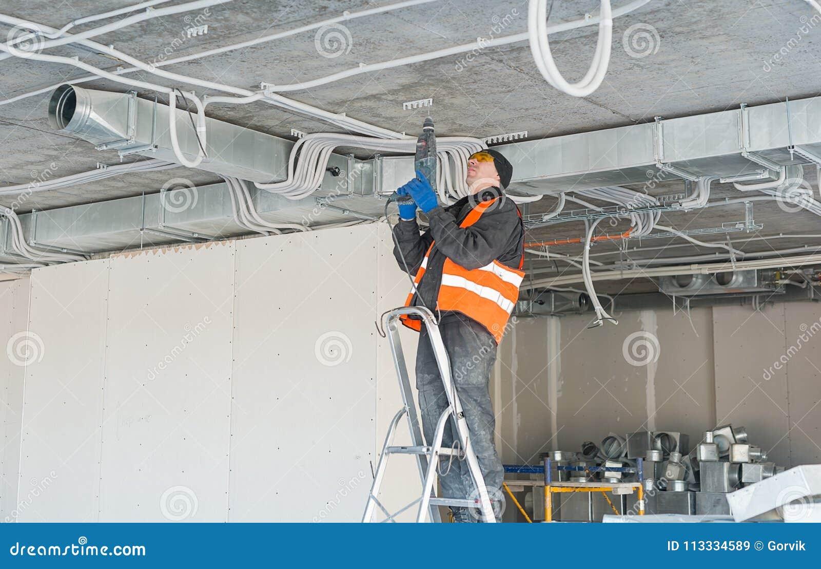 El proceso de instalar el montaje acorta para un alambre acanalado w