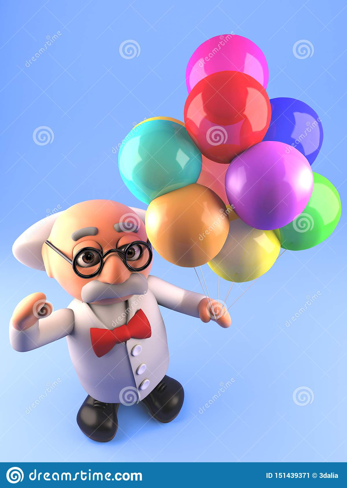 El profesor enojado del científico está en el humor con sus globos, del partido ejemplo 3d
