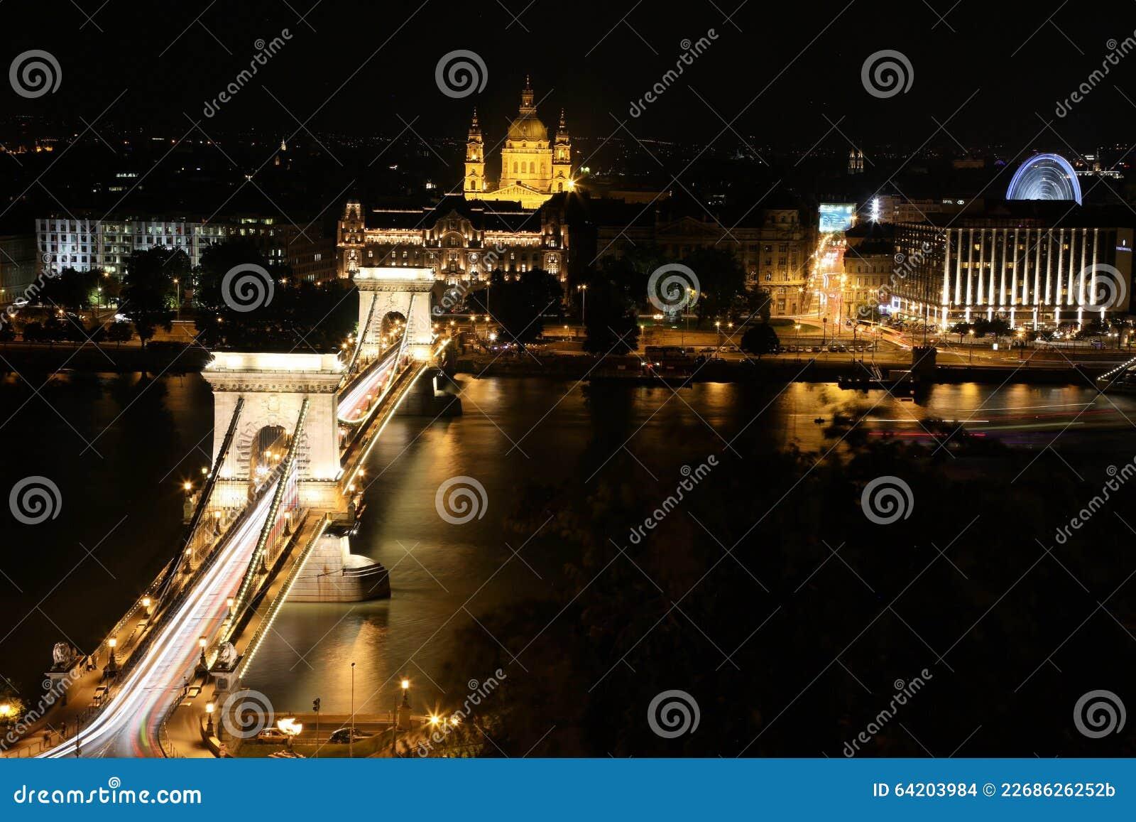 El puente de cadena en Budapest en la noche