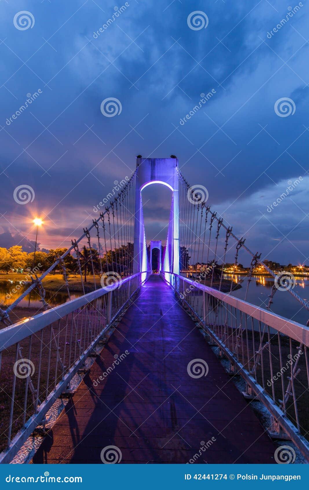 El puente de cuerda del metal en el parque
