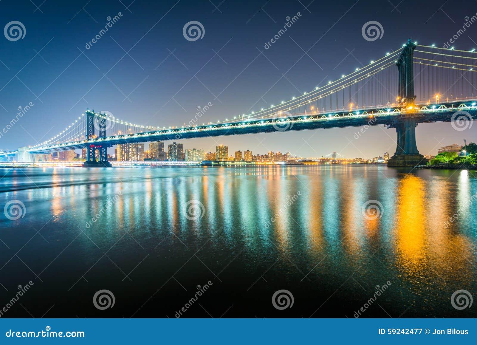 Download El Puente De Manhattan En La Noche, Vista De Parque Del Puente De Brooklyn, I Imagen de archivo - Imagen de configuración, color: 59242477