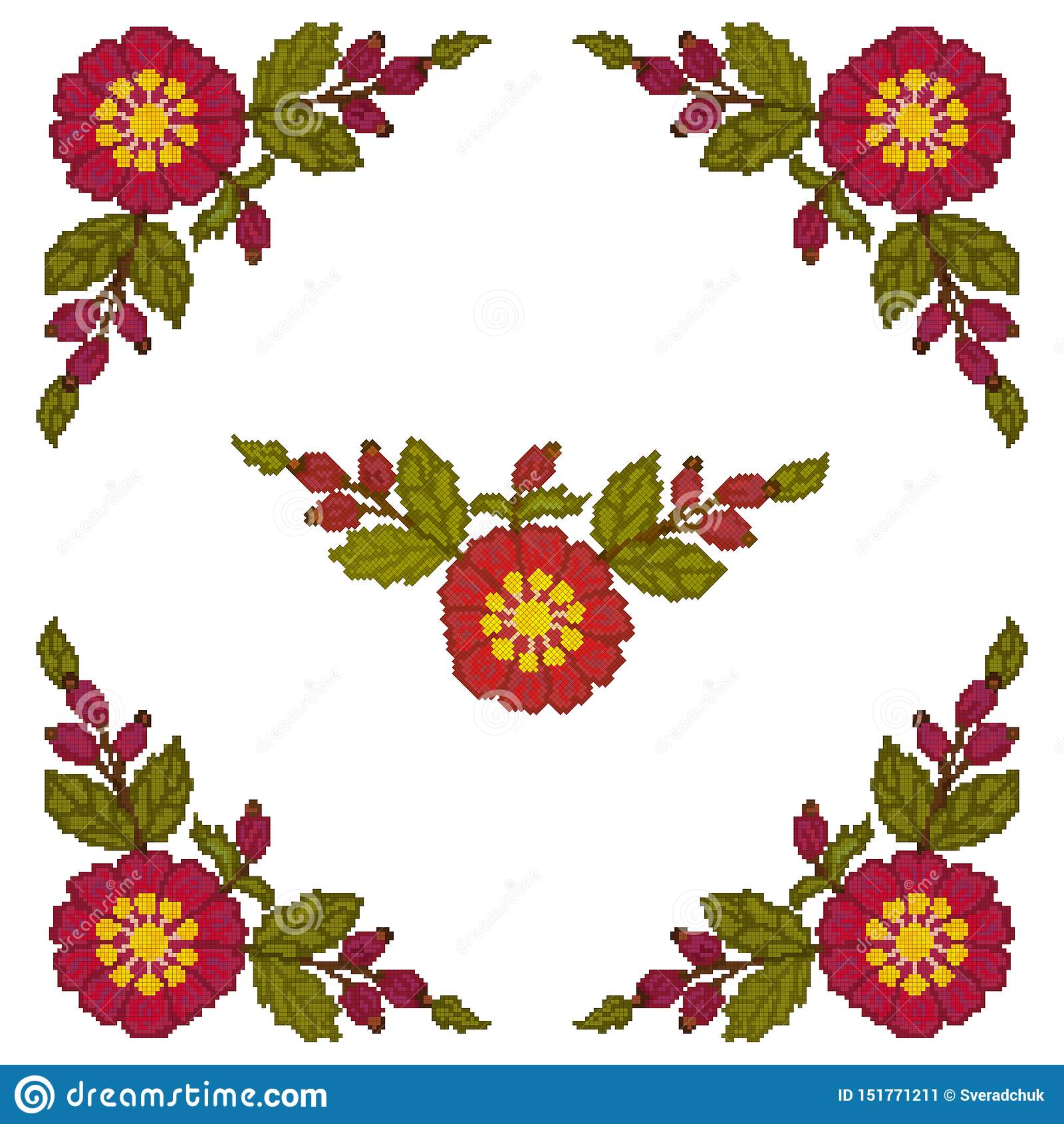 El punto de cruz del elemento de la esquina es flores rojas en un fondo blanco Vector