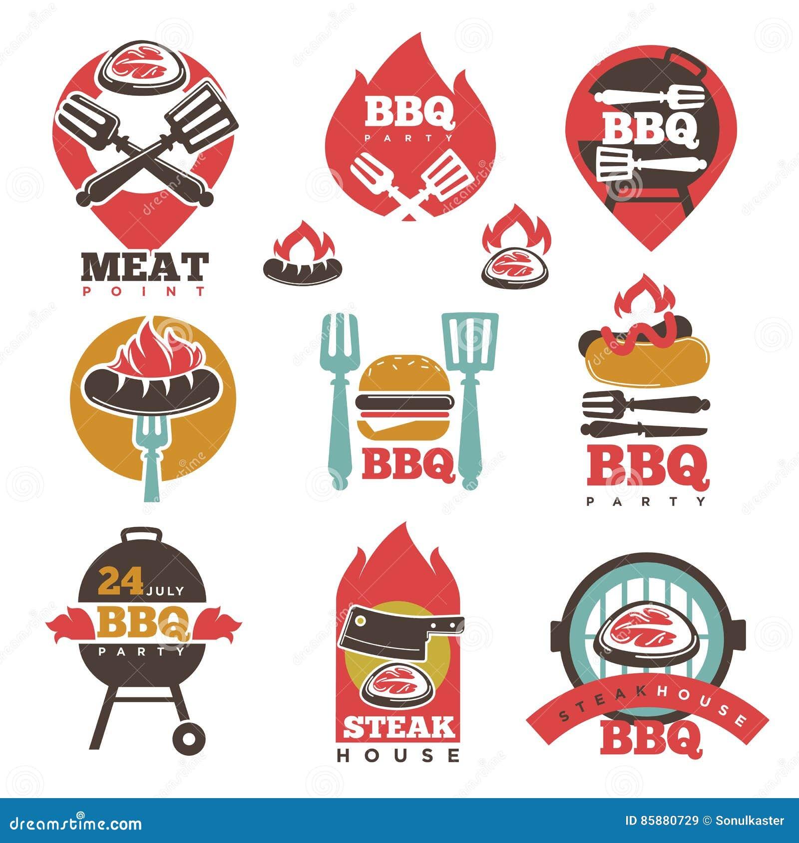 El punto de la carne de la casa del partido del filete del bbq firma la colecci n ilustraci n - La casa del barbecue ...