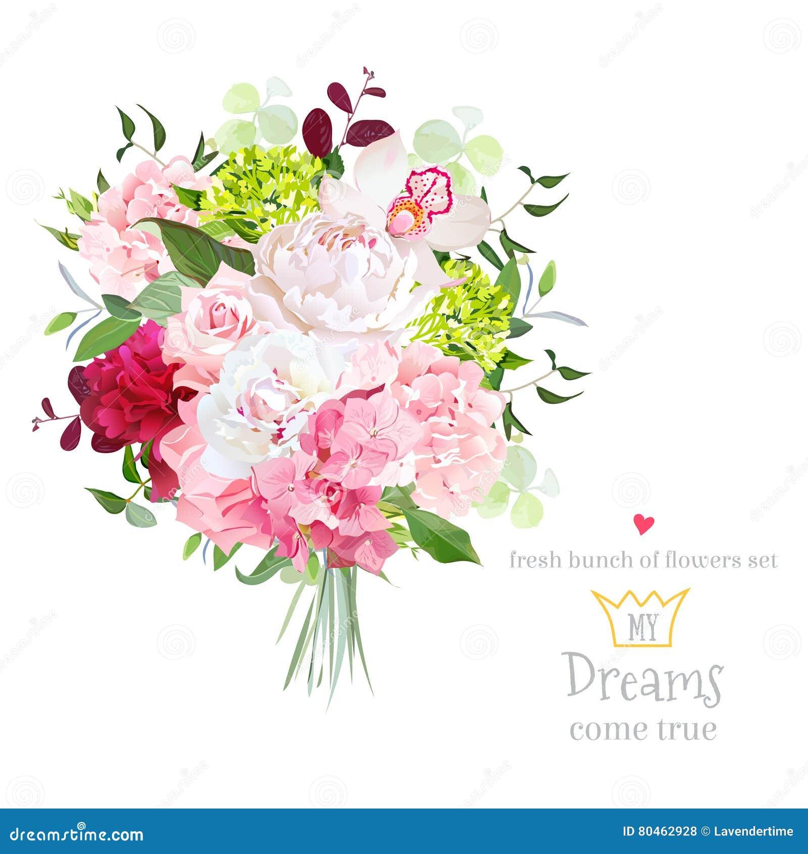 El ramo hermoso del vector con la peonía, subió, clavel, hortensia, orquídea, plantas verdes en el sistema blanco del diseño del