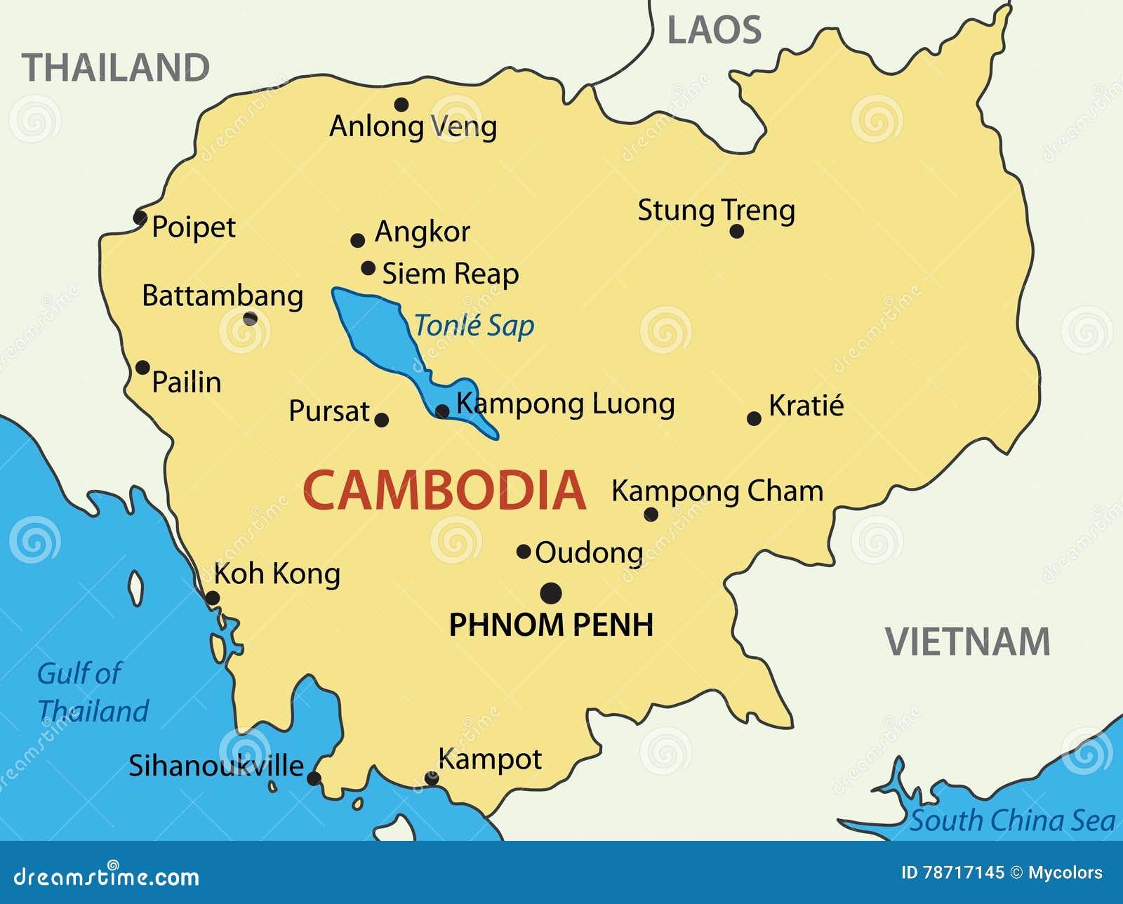 El Reino De Camboya Mapa Ilustracion Del Vector Ilustracion De