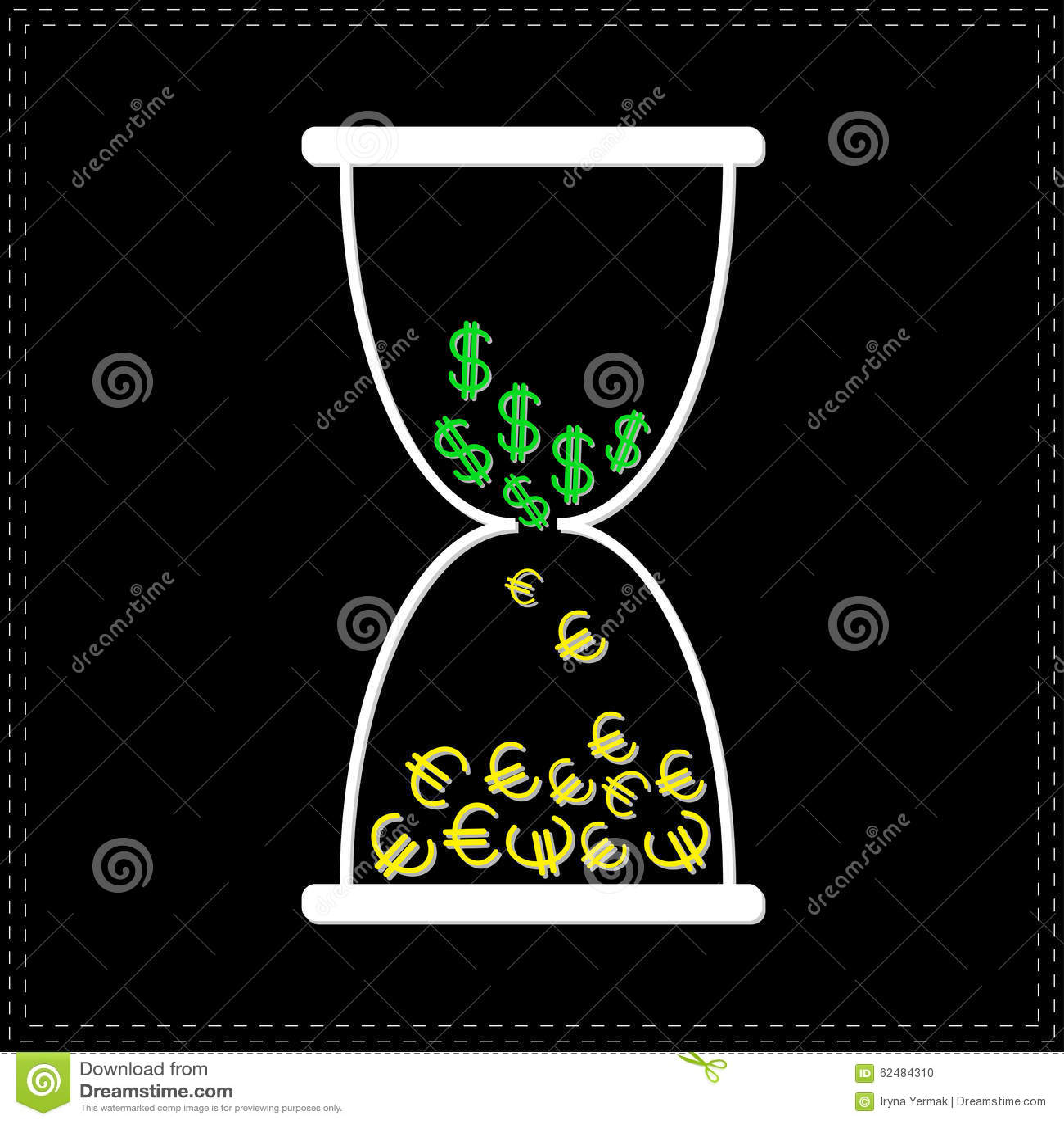 El Reloj De Arena Blanco Con El Dinero Del Dólar Y Del Euro Firma