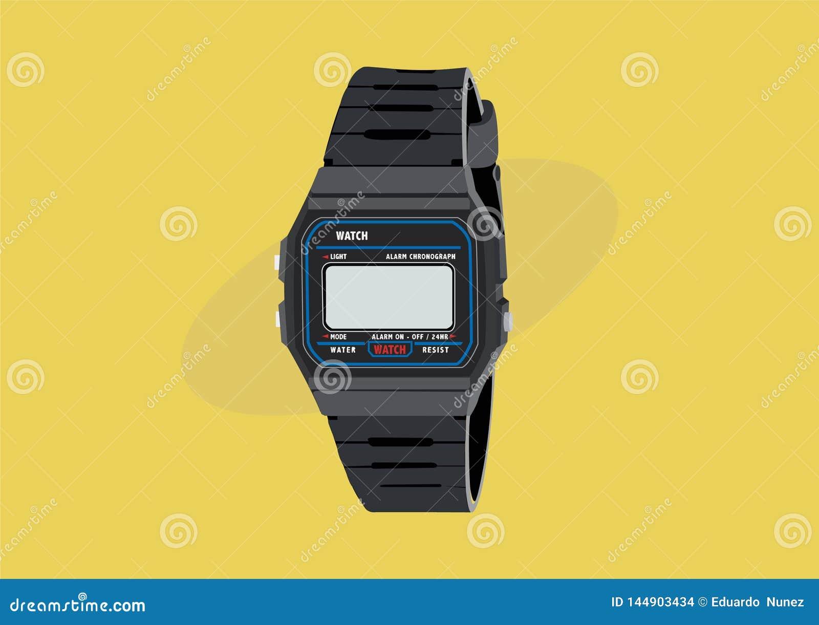 El reloj de Digitaces del vintage 80s y 90s, ejemplo del vector aisló