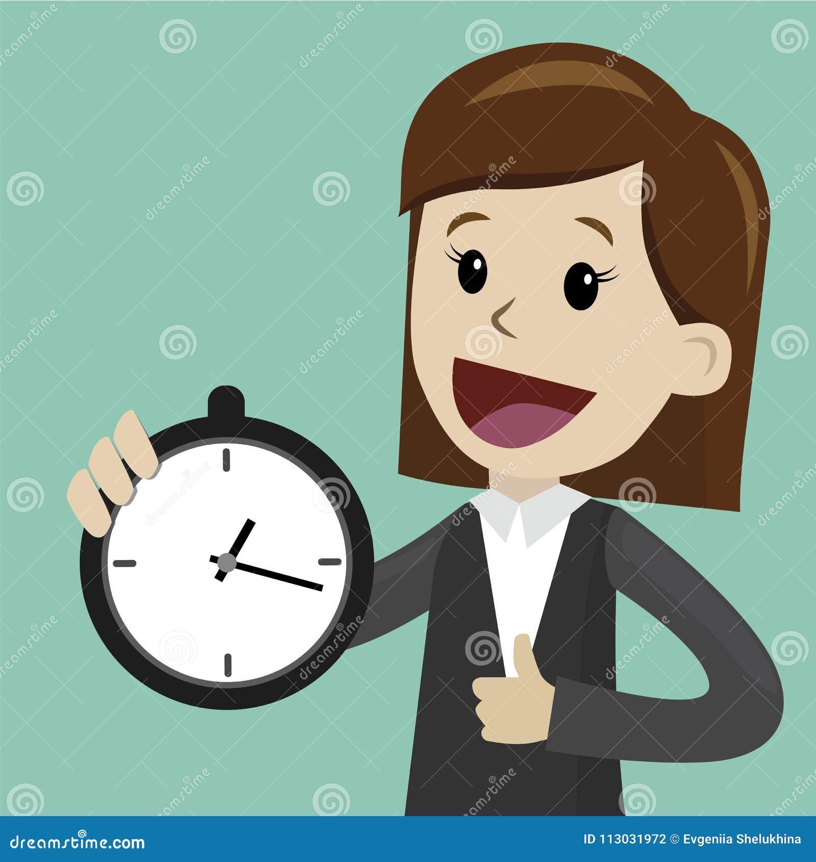 El reloj del control de la empresaria o del encargado y toma control en su tiempo