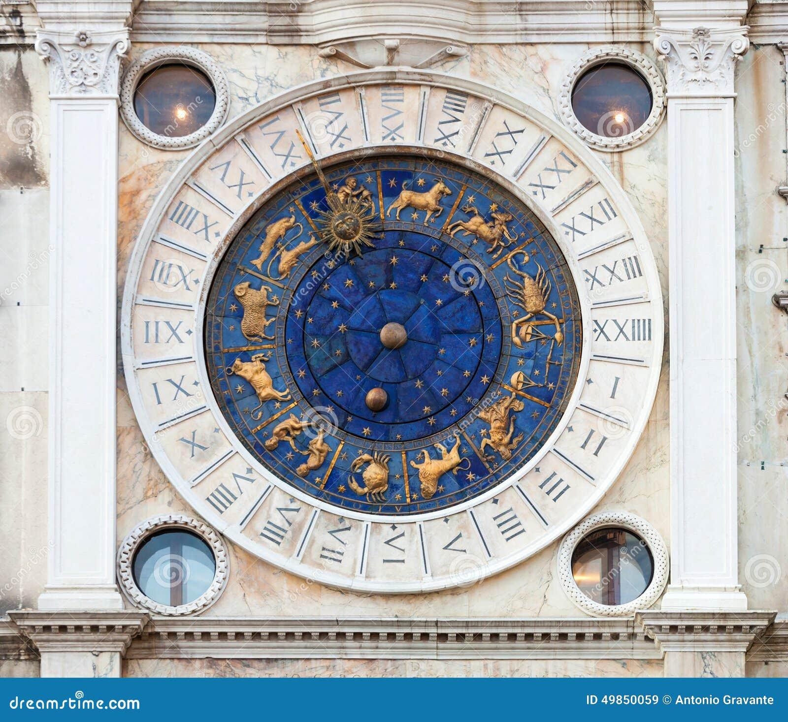 El reloj del zodiaco en santo marca el cuadrado, Venecia
