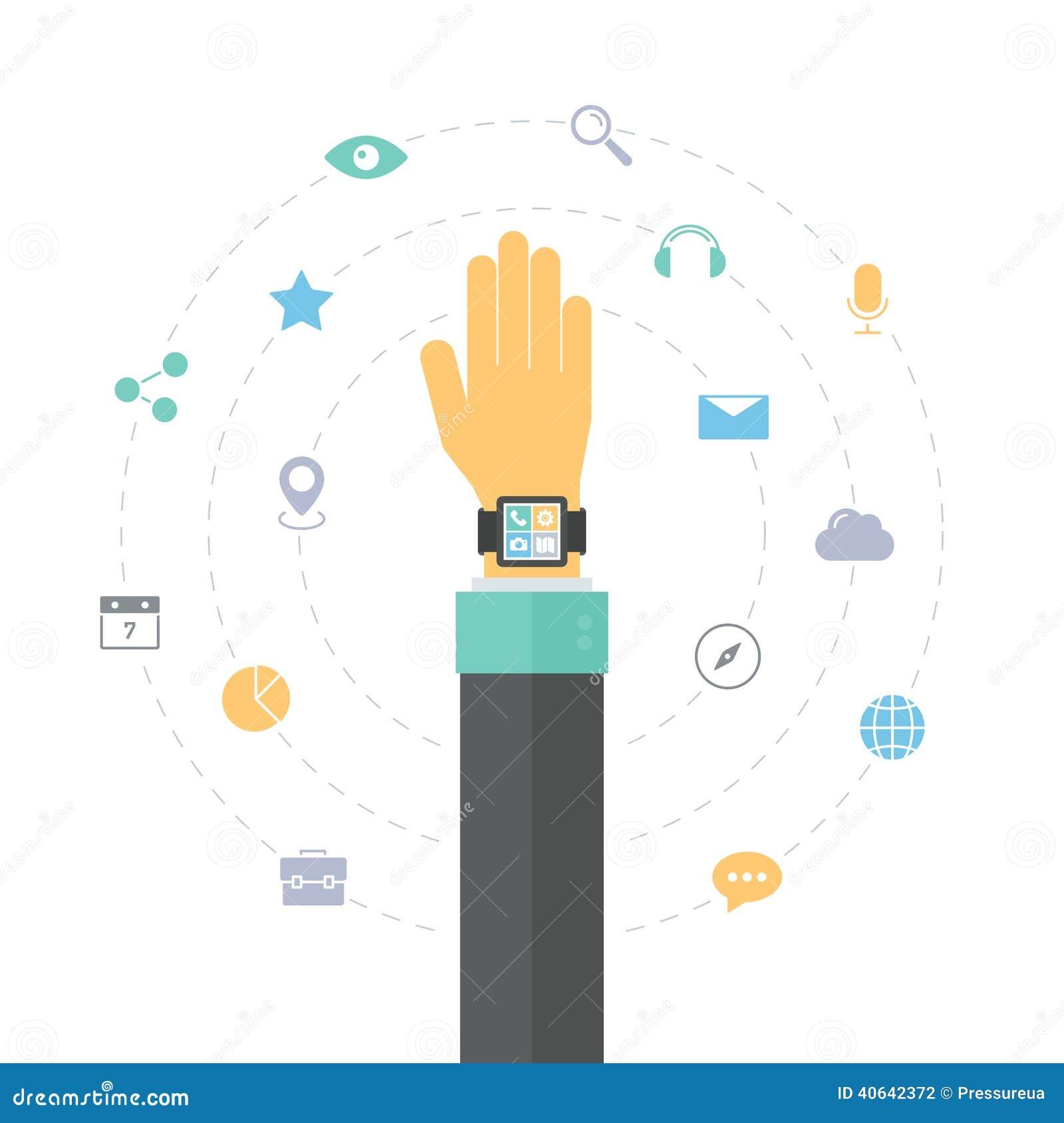 El reloj elegante ofrece concepto plano del ejemplo