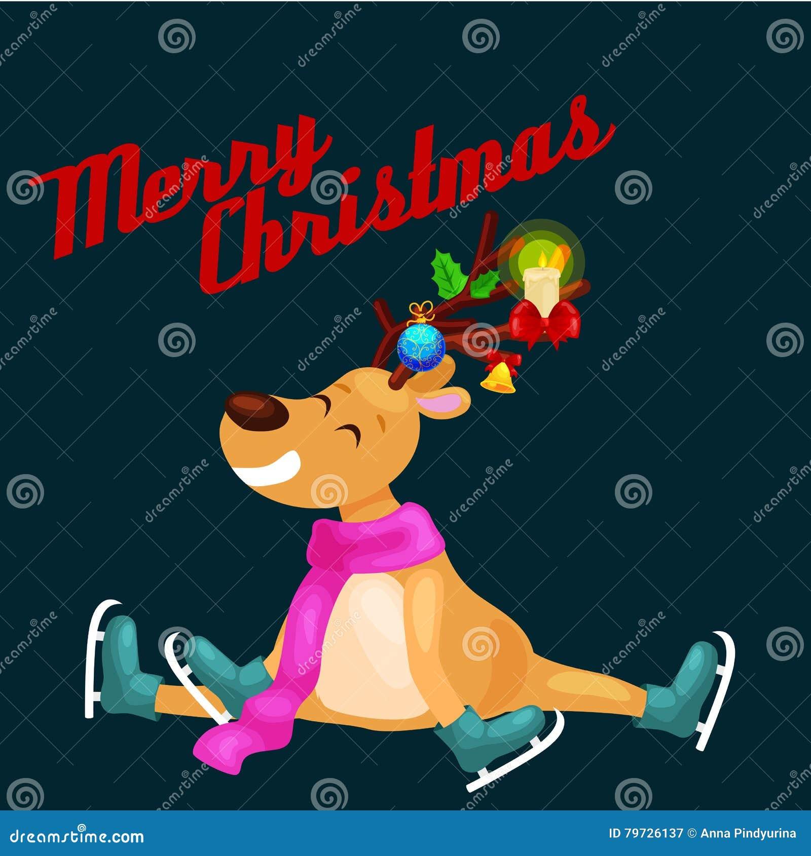 El reno de la Navidad con los cuernos y la bufanda patina en la diversión del hielo y tiempo feliz del gasto la víspera de día de