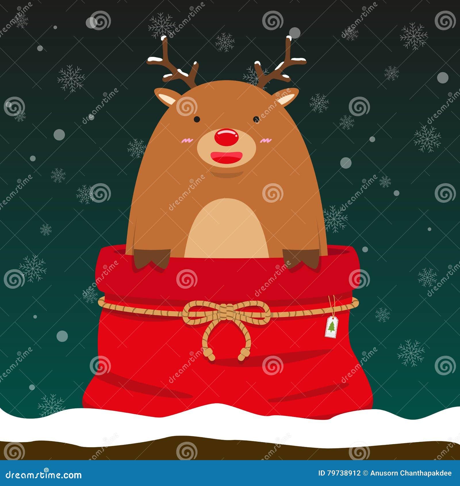 El reno grande gordo lindo sale del bolso de la Navidad