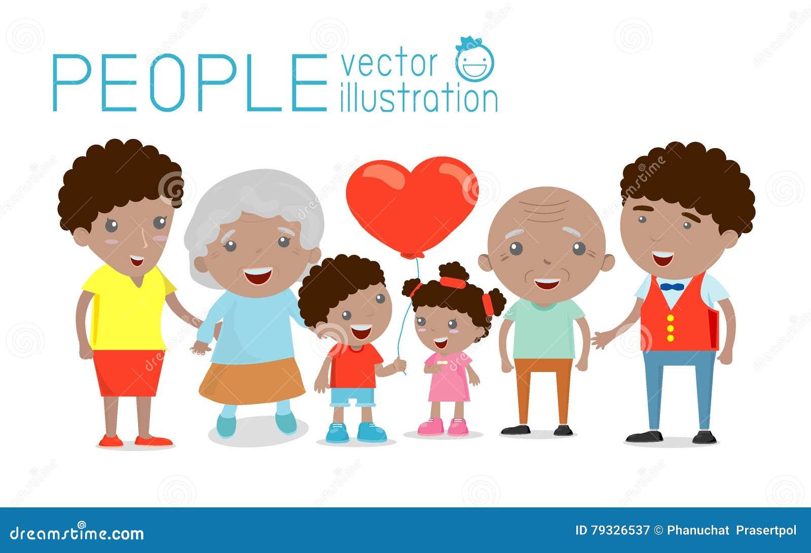 El retrato del grupo de la familia parents los abuelos y a los niños, familia feliz de la historieta, familia afroamericana