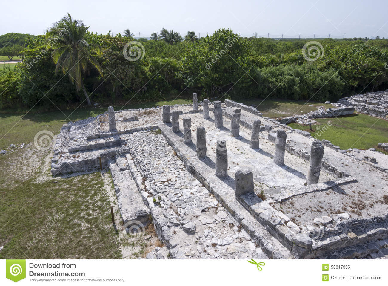 el rey ruins in cancun stock photo image 58317385. Black Bedroom Furniture Sets. Home Design Ideas