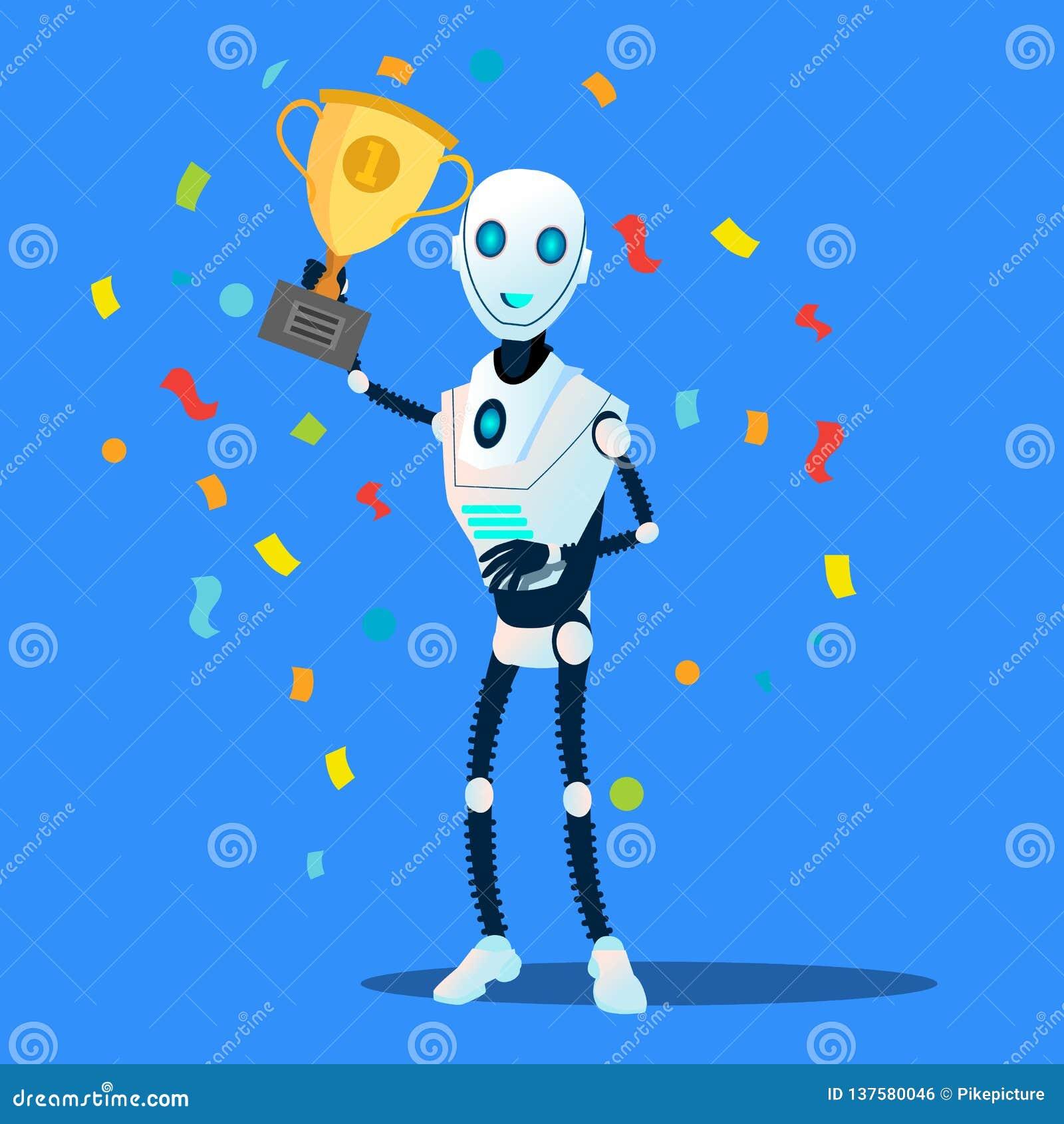 El robot lleva a cabo el vector disponible de la taza del ganador Ilustración aislada