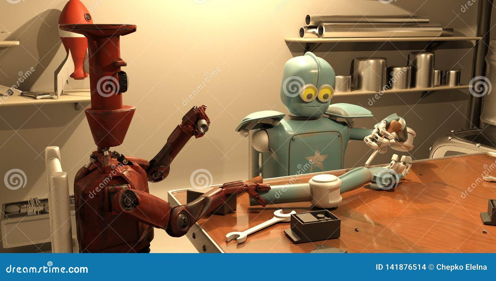 El robot retro está reparando su mano, representación 3d
