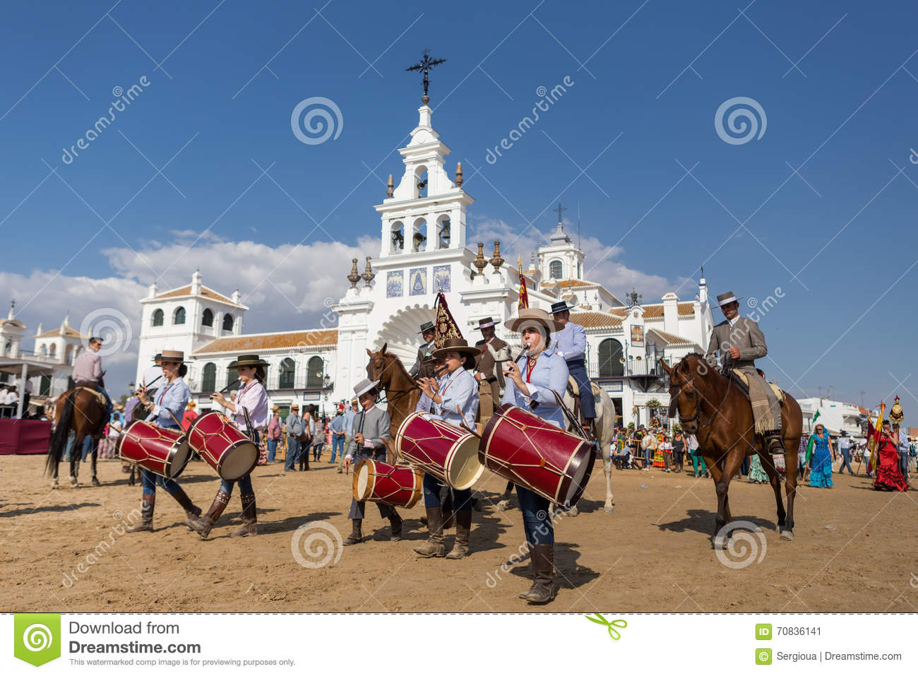 El ROCIO, ANDALUCIA, SPAIN - MAY 22: Romeria after visiting Sanctuary goes to village.