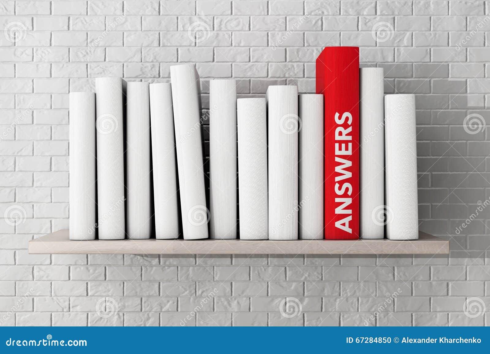 El rojo contesta al libro en un estante con otros libros en blanco