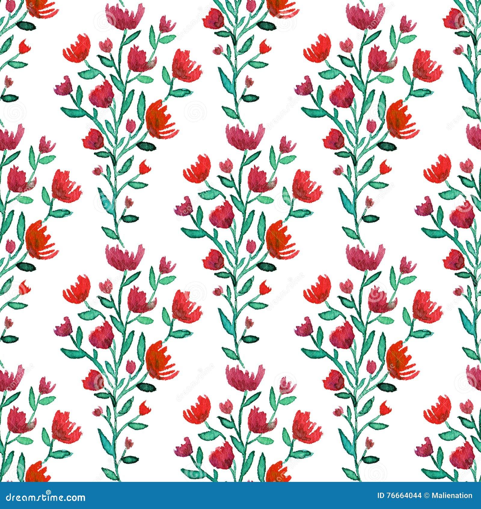 El rojo de la acuarela florece el modelo inconsútil Fondo de la manera Puede ser utilizado para envolver, la materia textil, el p