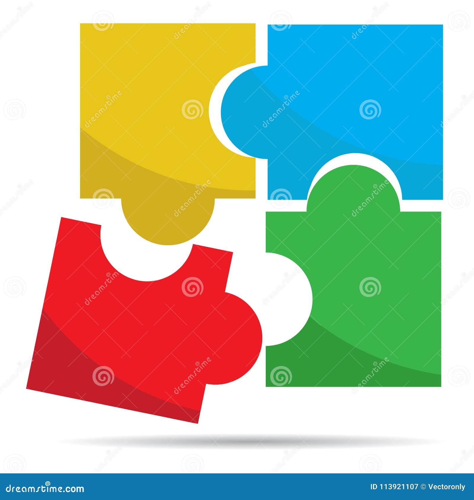 El rompecabezas coloreado junta las piezas de vector del logotipo