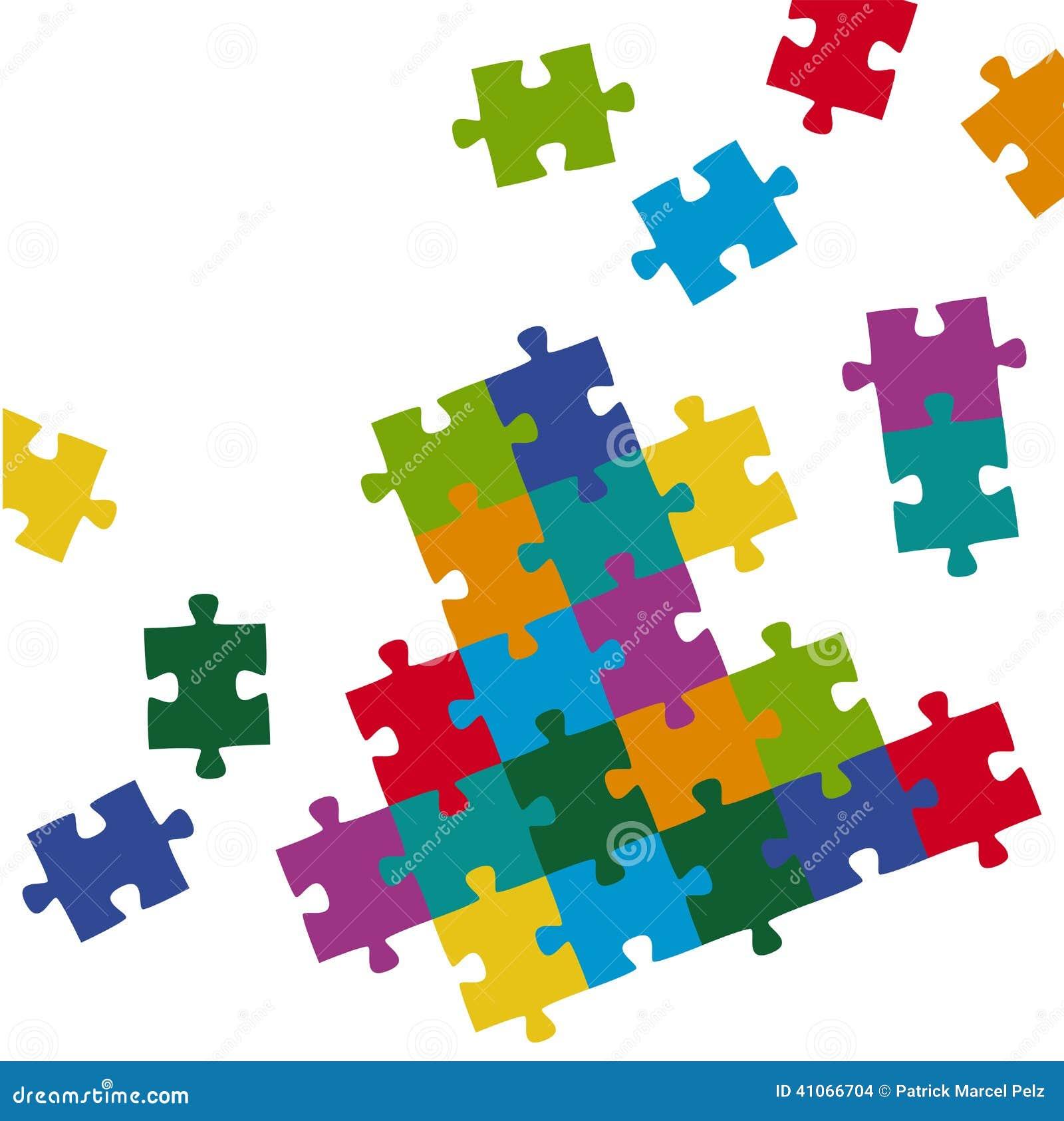 El rompecabezas junta las piezas del fondo coloreado