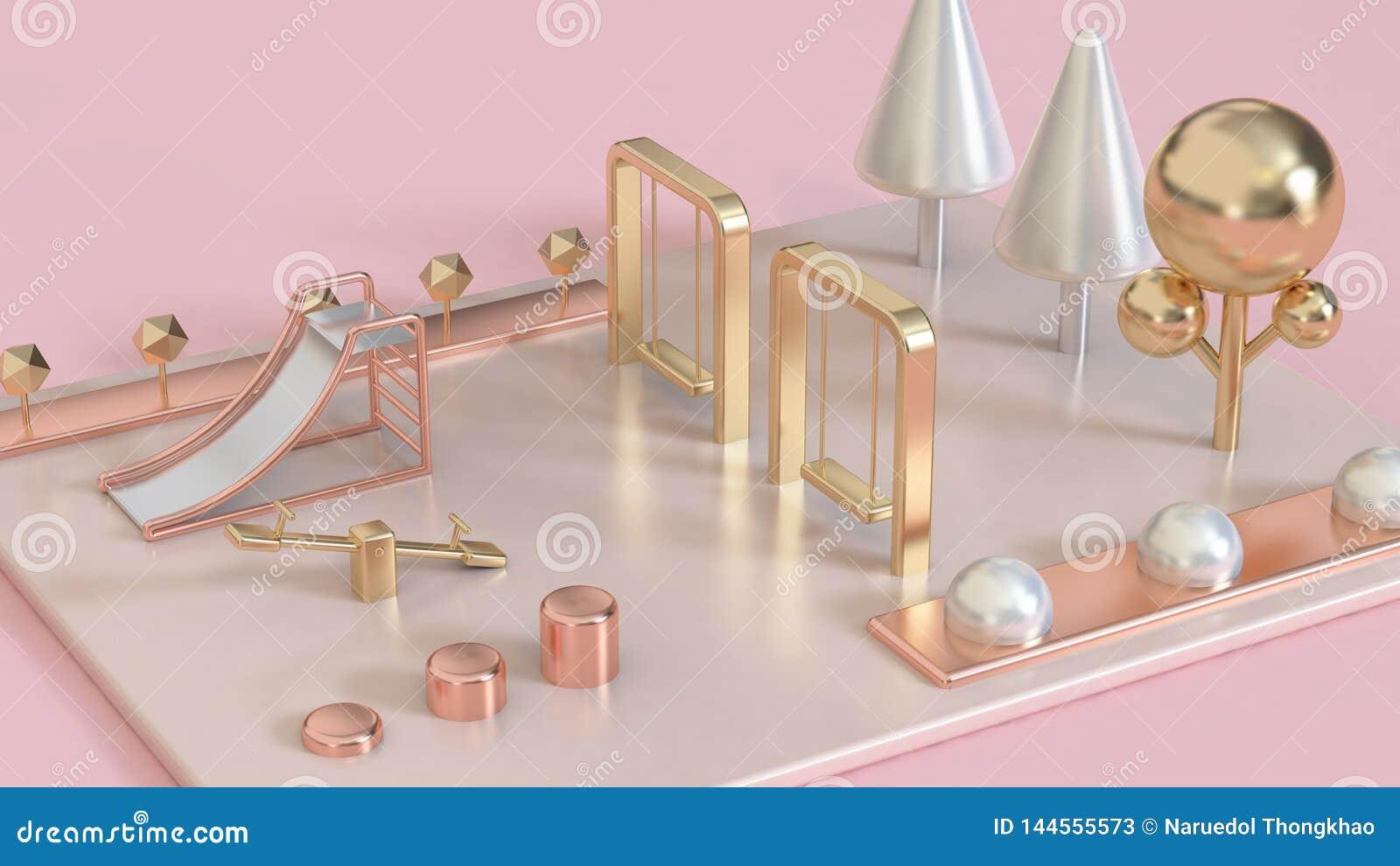 El rosa metálico, subió el oro, patio abstracto blanco de la perla 3d del oro con los árboles 3d rendir