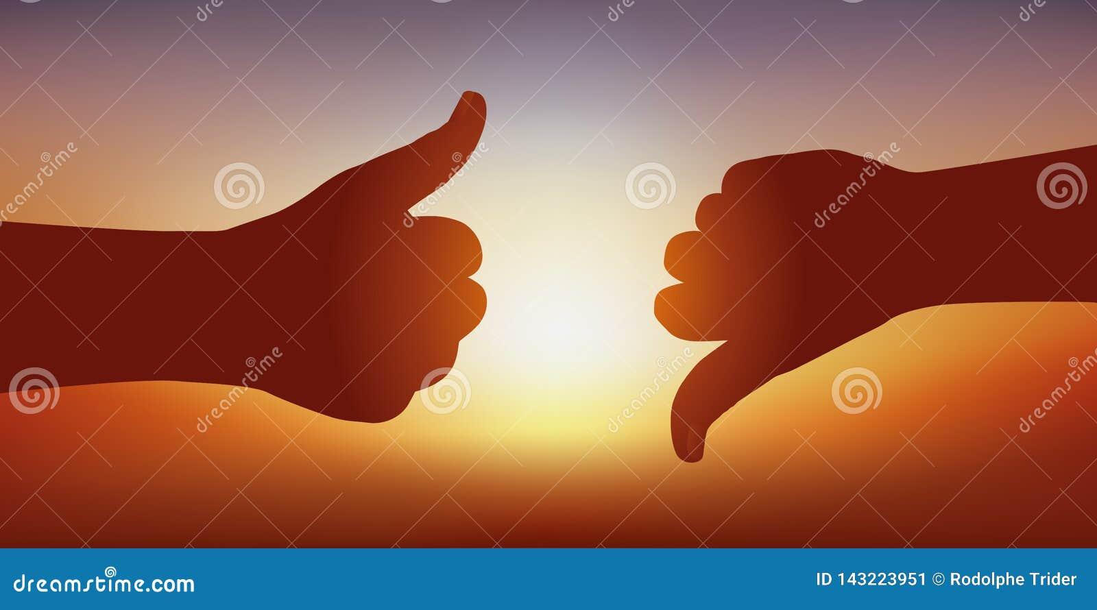 El símbolo de la opinión diverge con los pulgares encima de expresar su acuerdo y los pulgares abajo de expresar su desacuerdo