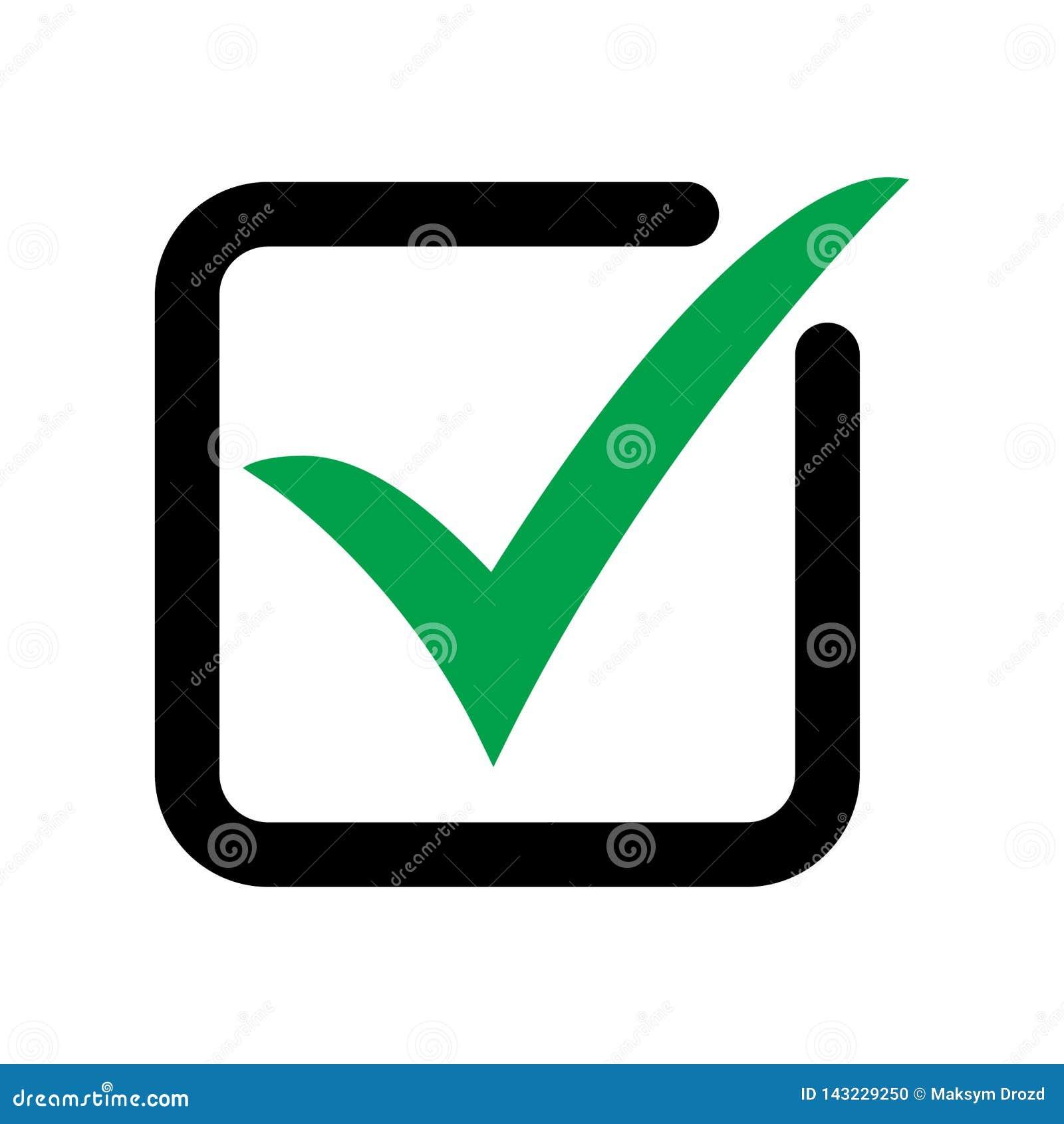El símbolo del vector del icono de la señal, marca de cotejo aislada en el fondo blanco, comprobó el icono o la muestra bien esco