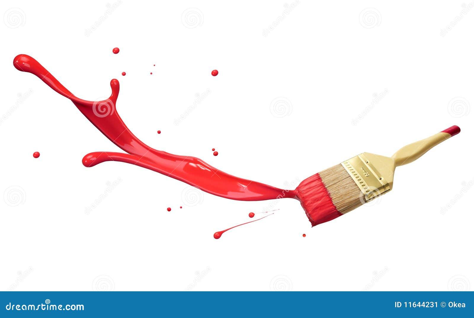 El salpicar rojo de la pintura