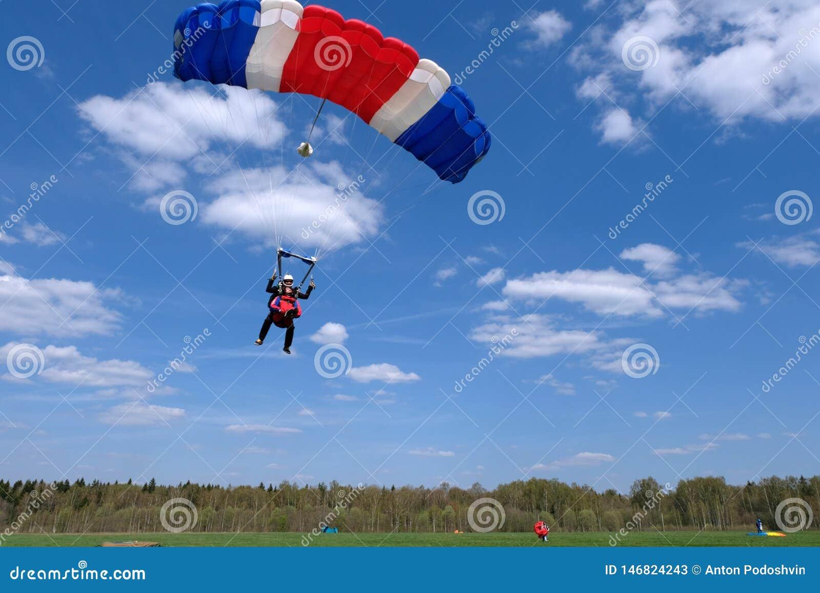 El saltar en ca?da libre en t?ndem Dos hombres felices est?n aterrizando