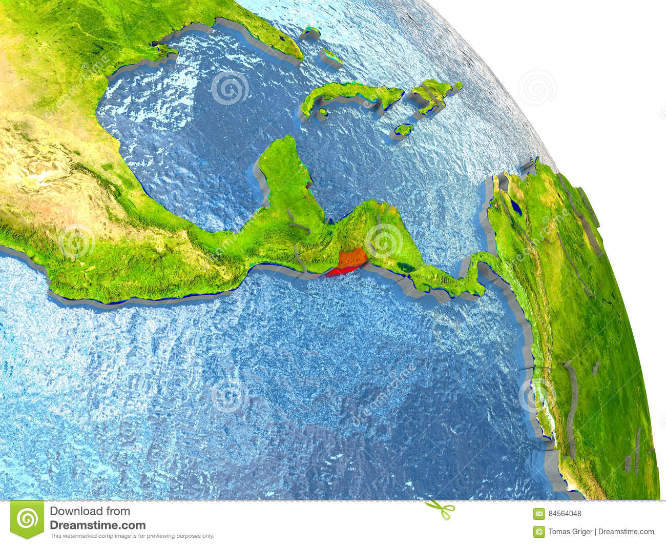 El Salvador On Earth In Red Stock Illustration Image - El salvador earth map