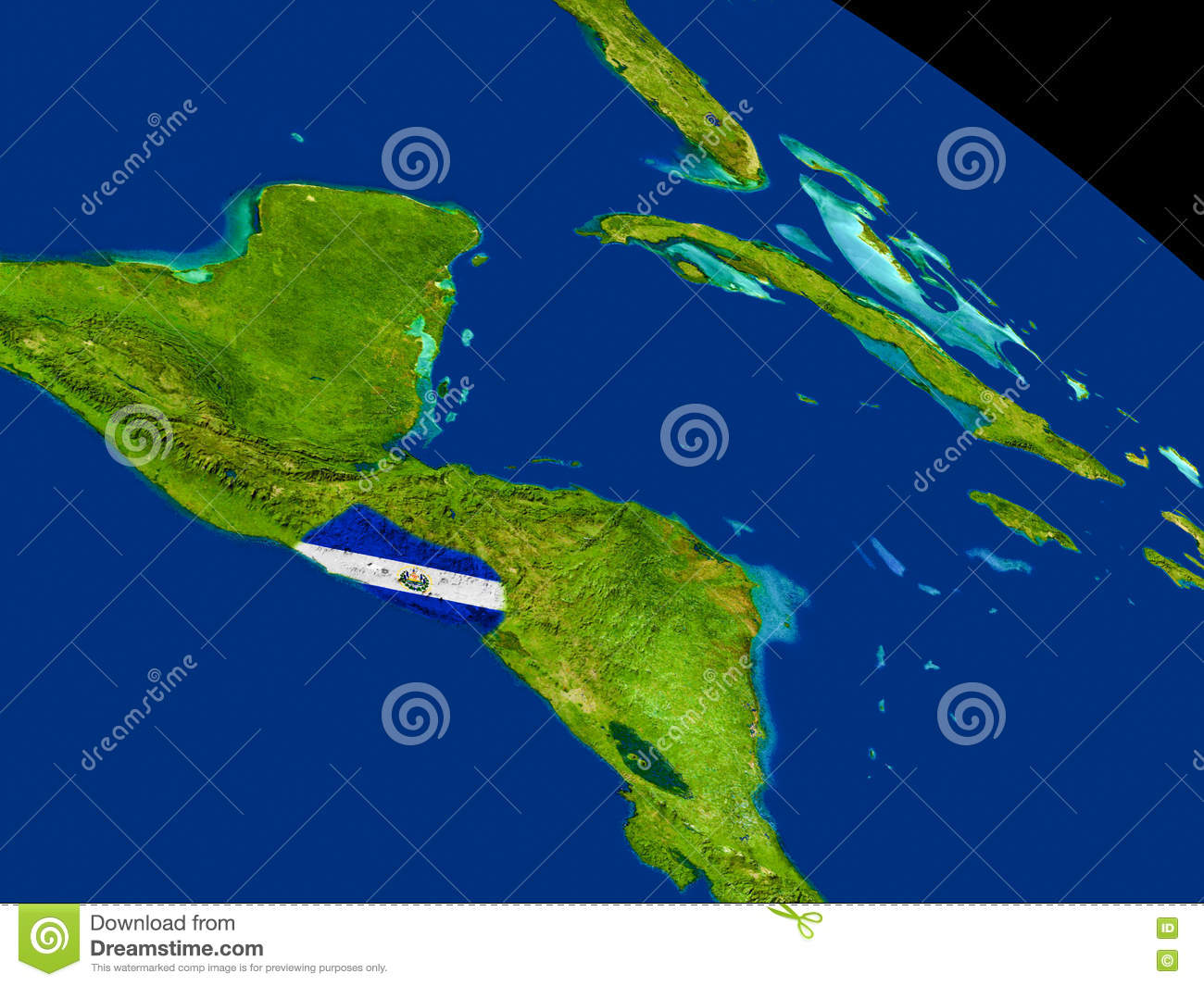 El Salvador With Flag On Earth Stock Illustration Image - El salvador earth map